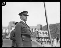 General David Prescott Barrows speaking at Armistice Day observance, Los Angeles Coliseum, Los Angeles, 1926