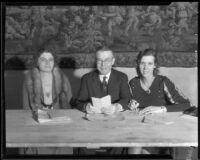 National Association of Teachers of Speech officers Gladys Borchers, Lee Emerson Bassett, and Irene Poole, Biltmore Hotel, Los Angeles, 1932
