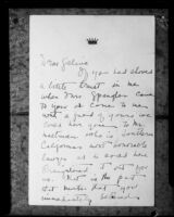 Letter to Galina Dolgolopoff, probably from Virginia Hurst, [1926?]