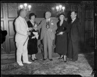 California governor James Rolph receiving Costa Rican hardwood gifts from Lieutentant Lee Edgar Beakley, 1932