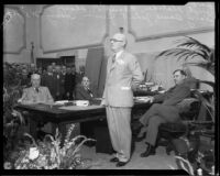 Los Angeles County supervisor Harry M. Baine speaking, Los Angeles, 1932