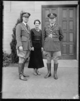 Reserve Officers' Training Corps faculty Raymond C. Baird and John S. Upham, with Mrs. Marjorie Baird, University of California, Los Angeles, 1935