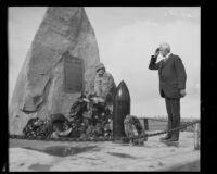 Anita Baldwin and General F.S. Strong at World War I monument, Camp Kearny, San Diego, 1928