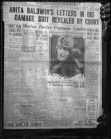 Photograph of front page of Los Angeles Examiner, with headline about and photograph of Anita Baldwin, April 8, 1924, rephotographed [1928?]