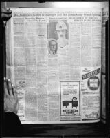 Page of the Los Angeles Examiner, with headline about Anita Baldwin, April 8, 1924, rephotographed [1928?]