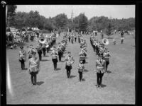Buck Jones Rangers youth band at band review or competition, [1930s?]