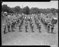 C.H. Cleveland Greater Harbor District Boys Band at band competition or review, [1930s?]