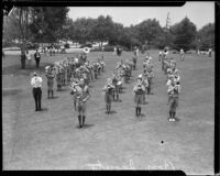 Boy Scout band at band competition or review, [1930s?]