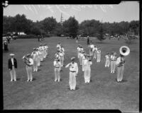 West Los Angeles youth band at band competition or review, [1930s?]