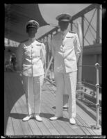 British navy officers Captain H. E. C. Blagrove and Rear Admiral R. A. R. Plunkett-Ernle-Erle-Drax aboard the Norfolk, San Pedro, 1934