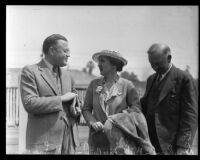 Occidental College president Remsen D. Bird, Mrs. Helen Bird, and Occidental board president Robert Freeman, Los Angeles, 1935