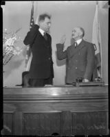 Judges Edward Bishop and Ben B. Lindsey at swearing in ceremony, [1930s?]