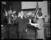 Judge Edward T. Bishop being sworn in, 1926
