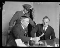 Stalker Charles Wesley Brinks with Beverly Hills police chief Charles C. Blair and city recorder M.J. Cavanaugh, Beverly Hills, 1925
