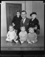 Juvenile Court judge Samuel R. Blake and five children, [Los Angeles?], 1932