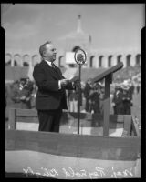 Major Reynold Blight speaking at Memorial Day observance, Los Angeles Memorial Coliseum, Los Angeles, 1935
