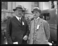 Physicians Rupert Blue and G. W. Middleton at medical convention, Los Angeles, 1927