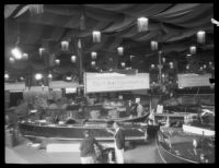 Boats on display, Los Angeles Boat Show, Los Angeles, 1930