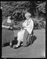 Maud Ballington Booth and another women at a tea at the Boys' and Girls' Home, Los Angeles, 1943