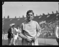 Charles Borah at an Olympic Club track team event at the Coliseum, Los Angeles, 1928