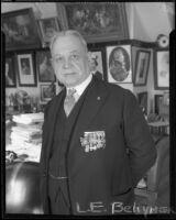 L. E. Behymer, impresario, in his home, Los Angeles, 1934