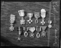Medals belonging to impresario L. E. Behymer, Los Angeles, 1934