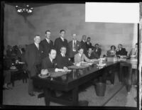 Attorneys, including William Beirne, and others in a courtroom, Los Angeles