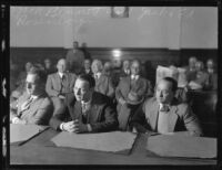Ed Rosenberg, Jack Rosenberg and Jacob Berman in court charged in the Asa Keyes bribery case, Los Angeles, 1928