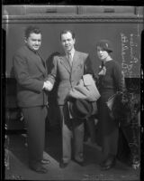 Actor Jean Hersholt, Prince Sigvard Bernadotte and Erika Bernadotte in front of train, 1935