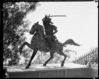 Statue of Lao-tse on horseback, Bernheimer Gardens, Pacific Palisades, [1938?]