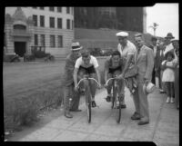 Two cyclists at the start of the Transcontinental Bicycle Relay race, Los Angeles, 1934