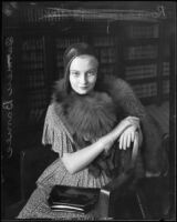Carmen Barnes during a visit to Judge McComb to obtain her acting contract, Los Angeles, 1931