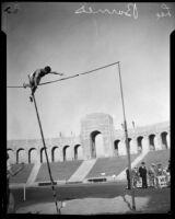 Lee Barnes pole vaulting at the Los Angeles Memorial Coliseum, 1924