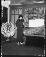 Anna Laura Barnett mourns beside late husband Jackson Barnett's casket, Los Angeles, 1934