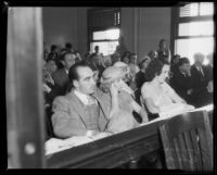 Norman Burgess, Mildred Irwin, and Edna Henke at the inquest in the death of 24-year-old Robert L. Moody, Santa Monica, 1933