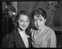 Actress Kathleen Burke with Ruby Bernstein, circa 1933-1934