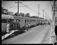 Attendees view the Burlington Zephyr train at Exposition Park, Los Angeles, 1934