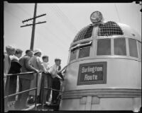 People line up to view the Burlington Zephyr train at Exposition Park, Los Angeles, 1934