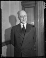 Postmaster Henry B. R. Briggs on his first day in office, Los Angeles, 1934