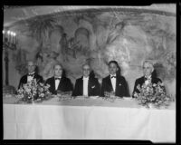 Admiral Frank H. Brumby, Mayor Frank Shaw, Harry L. Harper, F. P. Woellner, and W. A. Simpson at Chamber of Commerce banquet, Los Angeles, 1934