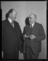 Senator McKinley presenting the Ling Foundation medal to Frank A. Bouelle, Los Angeles, 1931
