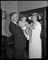 Judge Fletcher Bowron, his wife and newly adopted son Barrett, Los Angeles, 1934