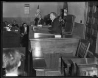 Fletcher Bowron, Superior Court Judge (1926-1938) presiding in his courtroom, Los Angeles, 1926-1938