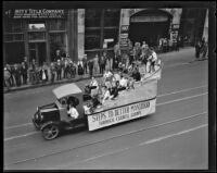 """Steps to Better Manhood"" truck in the Loyalty Day Parade inaugurating Boys' Week, Los Angeles, 1926"