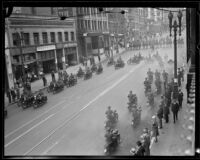 Motor cycle squad leading the Loyalty Day Parade inaugurating Boys' Week, Los Angeles, 1926
