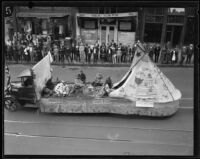 Indian teepee float in the Loyalty Day Parade inaugurating Boys' Week, Los Angeles, 1926