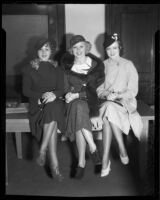 Actresses Grace Bradley, Toby Wing, Lona Andre at court to obtain contract approvals, Los Angeles, 1933