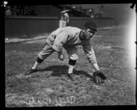 Cliff Brady, 2nd baseman for the Seattle Indians, during spring training at Shell Oil Park, Long Beach, 1926