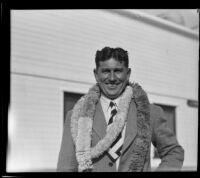 Paul C. Bragg, nutritionist, the day of his return from Hawaii, Los Angeles, 1932