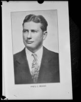 Bookplate portrait of nutritionist Paul C. Bragg [rephotographed], circa 1929